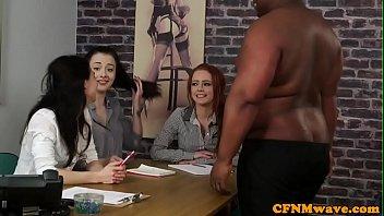 CFNM office beauties wanking black dick