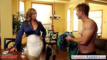 Nasty mom Eva Notty fucking dick with her tits