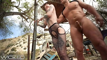 Inked Goth Girl Takes A Huge Cock To The Ass Outdoors - Wicked