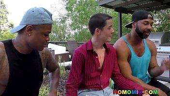 Interracial gay double anal fuck 8 min