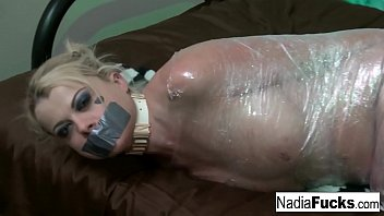 Plastic bag sex - Nadia white is wrapped in plastic