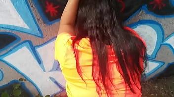 Hot girl has sex by graffiti wall