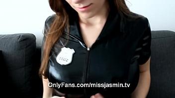 Miss Jasmin masturbating and vibrating in Leather Cop dress