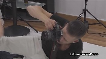 Latina model blows photographers cock on shoot