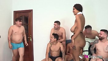 Tina's dream has come true: The busty Brazlian gal get GANGBANGED ANALLY BY 8 DICKS! porno izle