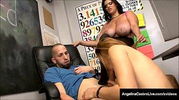 BBW Angelina Castro Shows Tara Lynn Holmes How To Milk Cock!