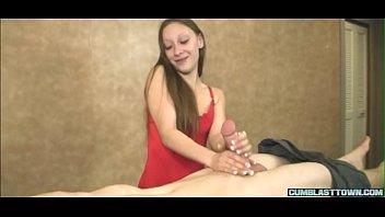 Stunning masseuse jerking off her client