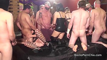 Four women put on a gangbang party for many lucky guys 6 min