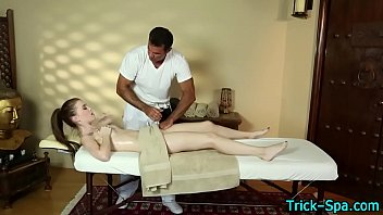 Brunette teen massaged