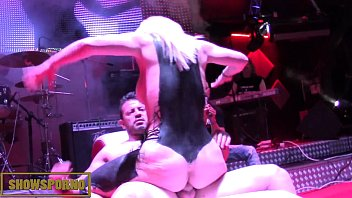Blonde big natural tits fuck on stage with live music