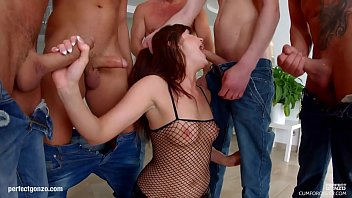 Bukkake blowbang group scene with Lydia Lust by Cum For Cover