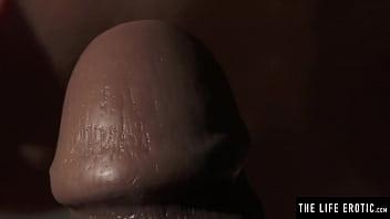 Gorgeous petite girl fucks her tight asshole with a giant dildo