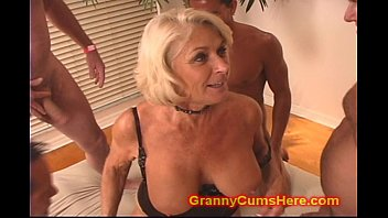 Gangbang cum vids Granny gets a gang bang and cum bath