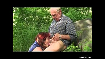 Granny and Grandpa fuck outdoor