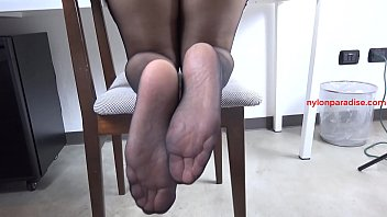 Irene tease only video black pantyhose and sexy sandals