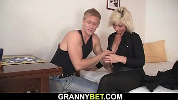 60 years old blonde woman rides his big cock