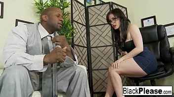 Gorgeous Jennifer receives an interracial creampie in the office