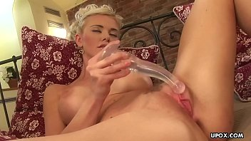 Gorgeous blonde woman is masturbating and having a real blast