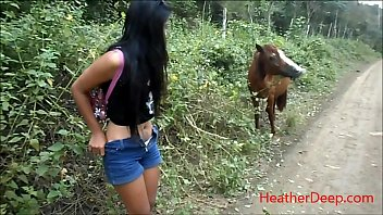 HD peeing next to horse in jungle