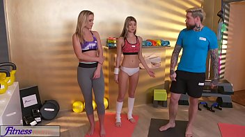 Fitness Rooms Horny girls seduce big dick gym instructor and fuck him hard