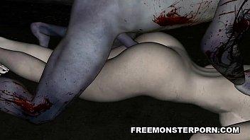 Foxy 3D cartoon zombie babe gets licked and fucked