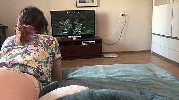 Brother fucks his sister while she plays game POV