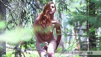 Red hair large tits Sex in the woods