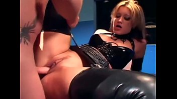 Npng latex Blonde in a uniform and latex lingerie fucking