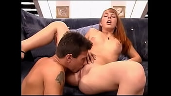 Redhead babe sucks cock and gets pussy fucked by janitor