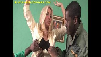 MILF Blonde Strips and Sucks Black