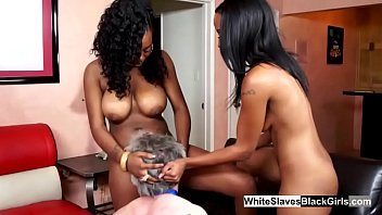 Ebony mistresses use their slave