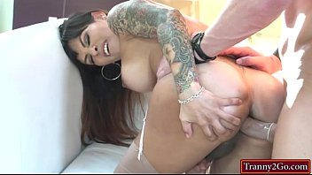 """Massive boobs shemale TS Foxxy anal fucked by bald guy <span class=""""duration"""">5 min</span>"""