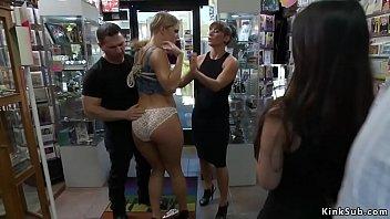 Blonde goddess butt plugged in sex shop
