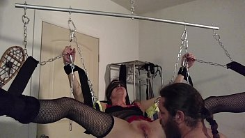 Rhianna chained up in swing PT 1