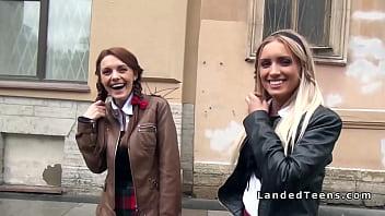 Russian schoolgirls having threesome