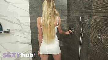 Lonely blonde beauty Nancy A lockdown isolation masturbation in the shower 14 min