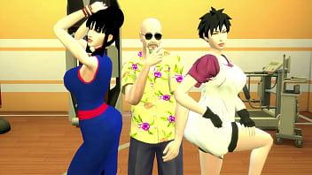 Perverted Master Roshi Sexually Train Chchi Milk and Videl Beautiful Wives Dragon Ball Hentai