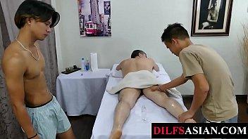 Massaging Asian twinks ass toying mature daddy