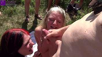 Mom and stepdaughter were dirty used by countless men at a bathing lake! Part 4