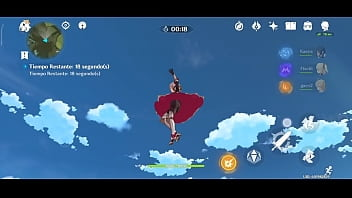 Noelle volando en el aire para ver su lindo tracero