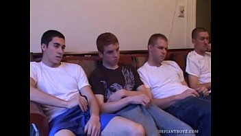 Humilation homosexual Four boys circle jerk