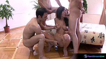 Bachellorette party porn clips Lada takes on three cocks