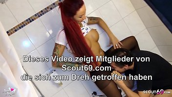 Redhead German Teen in Nylon let him d. Piss and Feet Cum 6 min