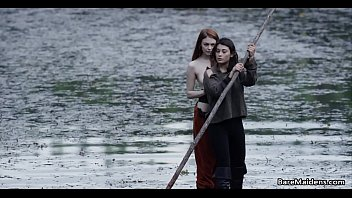 Lesbian adventures on wooden raft # Brea Daniels and Raven
