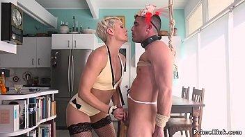 Blonde MILF pegging partyboy