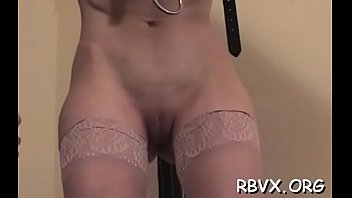 Sexy bondage scenery with amateur slut getting belted and teased
