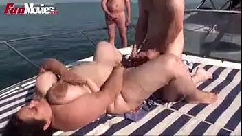 mom went to a boat party with my friends and get banged by them