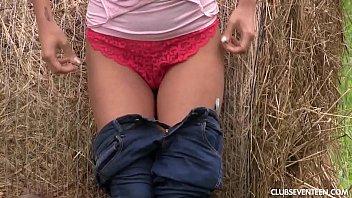 Chesty teen fucks her hairbrush outdoors