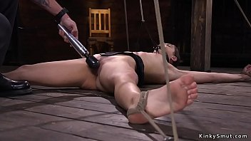 Spread eagle tied up and fucked - Brunette in upside down suspension whipped