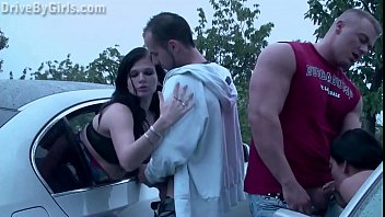A girl is getting undressed in a car befor joining PUBLIC sex dogging orgy